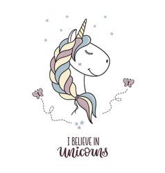 I believe in unicorns vector