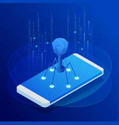 Isometric touch phone with virus alert vector