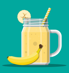 jar with banana smoothie with striped straw vector image