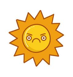 Kawaii angry sun emoticon cartoon vector