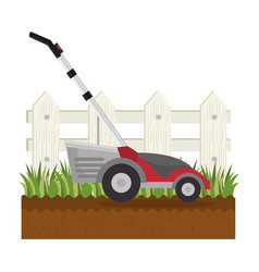 lawn mower in garden vector image