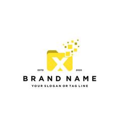 Letter x file folder logo design vector