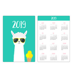 Llama alpaca and icecream simple pocket calendar vector