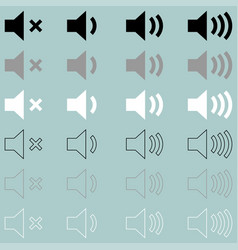 loud or speaker white grey black icon loud or vector image