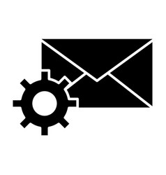 Mail settings solid icon envelope and cog wheel vector