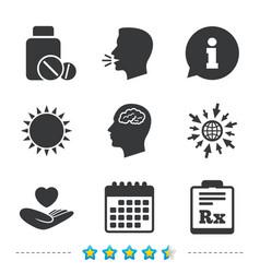Medicine icons tablets bottle brain rx vector