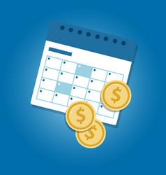 Money and calendar coins dollar concept of vector