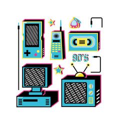 nineties retro set icons vector image
