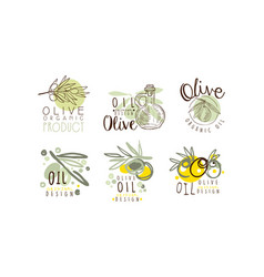 olive oil labels and logos design set vector image