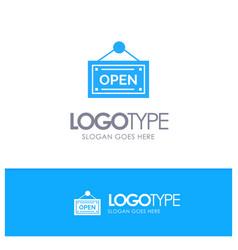 open shop board blue logo vector image