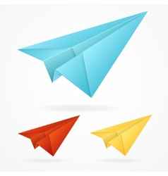 Origami paper blue airplanes set on white vector