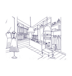 Outline drawing of fashionable clothing shop vector