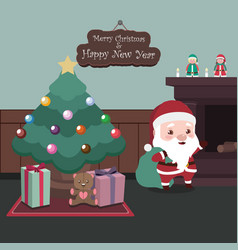 peaceful scene with santa and christmas tree vector image