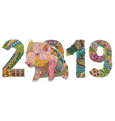 piggy with number 2019 for adults for vector image