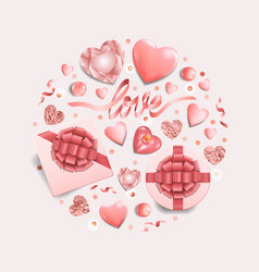 Pink objects round pattern for romantic holidays vector