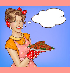 pop art woman holding tray with pasta and sauce vector image