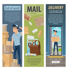 Post mail delivery postman work banners vector