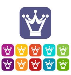 princess crown icons set flat vector image