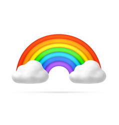 Realistic rainbow arch in clouds 3d icon vector