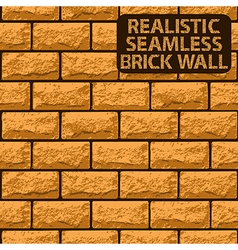 Realistic seamless texture of orange brick wall vector image