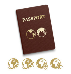 Red cover passport and travel vector