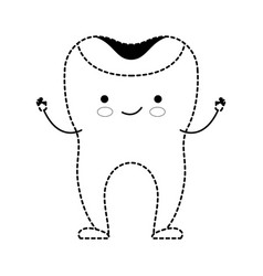 Restored tooth cartoon in black dotted silhouette vector