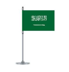 saudi arabian flag on the metallic pole vector image
