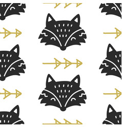Scandinavian fox nordic seamless pattern vector