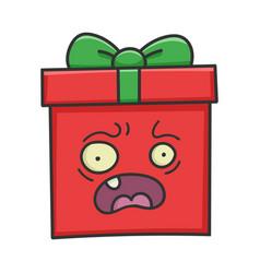 Scared present christmas gift box cartoon vector