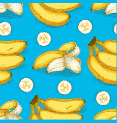 Seamless pattern with ripe yellow banana vector