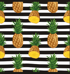 seamless summer pattern with pineapples on black vector image
