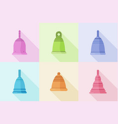 set different silicone menstrual cups with vector image
