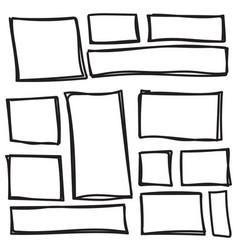 Set freehand drawn shape vector