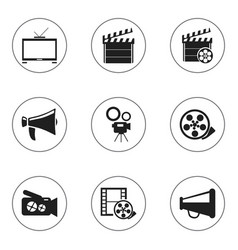 Set of 9 editable cinema icons includes symbols vector