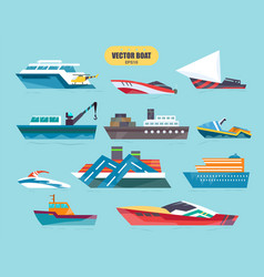 Ships at sea transport shipping boats in vector