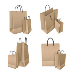 Shopping bags from craft paper set vector