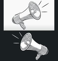 Sketch doodle megaphone horn loudspeaker outline vector