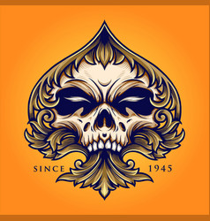 skull playing card with ornate luxury vector image