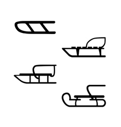 Sled hand drawn set of four sleds vector