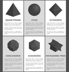 Sphere and octahedron pentagrammic prism figures vector