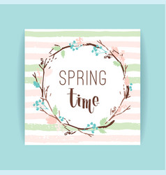 Spring frame branches and leaves vector