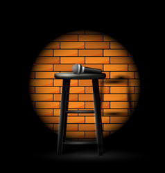 stand up comedy show - microphone on stool in ray vector image