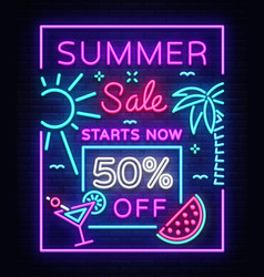summer sale poster in neon style design template vector image