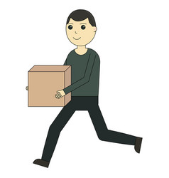 the deliverer runs with the box cartoon character vector image