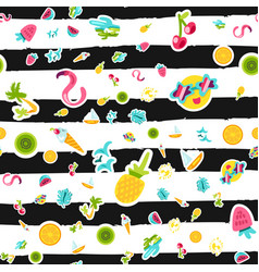 Tropical summer seamless pattern in doodles vector