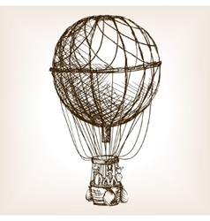Vintage air balloon wheel hand drawn sketch vector
