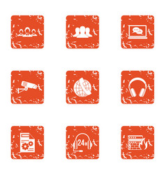 voice control icons set grunge style vector image