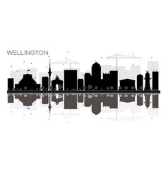 Wellington city skyline black and white vector