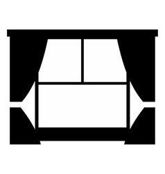 Window with curtains simple icon vector image