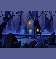 Wooden mystic stilt house on swamp in night forest vector